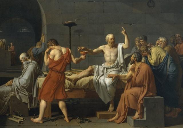 """Fragment obrazu """"Śmierć Sokratesa"""" J.L. Davida"""