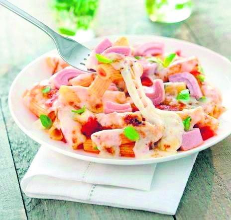 Maccheroncini z tuńczykiem,   pomidorami i mozzarellą