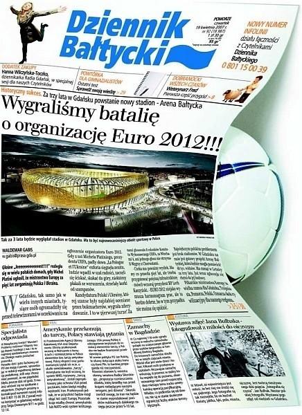 """Okładka """"Dziennika Bałtyckiego"""" poświęcona Euro 2012 zdobyła główną nagrodę w konkursie GrandFront 2007"""