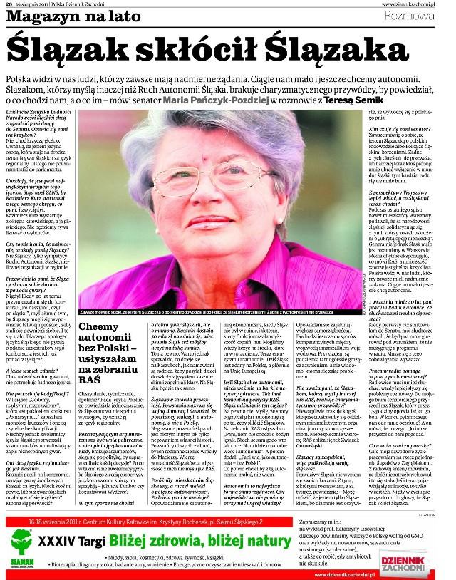 Rozmowa z Marią Pańczyk-Pozdziej ukazała się 26.08