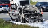 Pożar samochodu na autostradzie A4 pod Brzeskiem