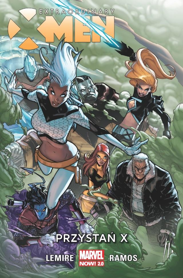 Extraordinary X-Men: Przystań X, tom 1 Scenariusz: Jeff Lemire Rysunki: Humberto Ramos  Przekład: Maria Jaszczurowska  Oprawa: miękka ze skrzydełkami Objętość: 120 stron  Format: 167x255  Cena: 39,99  ISBN: 978-83-281-3488-1 Język oryginału: angielski  Seria: Marvel Now 2.0  Kategoria: komiks amerykański Tematyka: superbohaterowie Pierwszy tom przygód X-Men z nowej serii wydawniczej Marvel NOW! 2.0.  Z inicjatywy Storm X-Men zakładają Przystań X, która ma być schronieniem dla mutantów przed mgłą terrigenową. Jednak nie wszyscy są chętni do współpracy. Jean Grey wcale się nie spieszy, żeby opuścić szkołę. Gdy jednak musi ratować kolejnego mutanta przed atakiem ludzi, przekonuje się, że gra toczy się o wysoką stawkę. W Przystani X trwają też eksperymenty z DNA mutantów i Inhumans, których celem jest znalezienie antidotum na ospę M. Czy mutantom uda się pokonać wszystkie zagrożenia?  Tymczasem pojawia się pewien niespodziewany gość. Tym bardziej niespodziewany, że przecież podobno już nieżyjący…  Autorem scenariusza jest Jeff Lemire (Czarny Młot, Łasuch), a rysunki stworzył Humberto Ramos (Amazing Spider-Man).