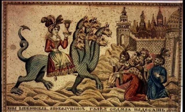 Apokalipsa walka dobra ze złem, People worship the beast, ilustracja historyczna