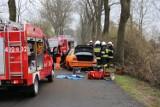 GROŹNY WYPADEK: Dwie osoby ranne w wyniku uderzenia autem w drzewo pod Baszkowem [ZDJĘCIA]
