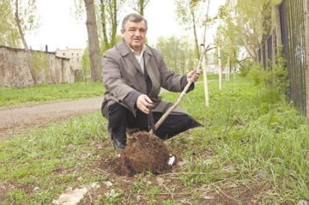 Waldemar Szydło pokazuje jedno ze zniszczonych drzewek.