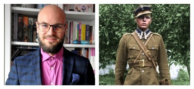 """Tomasz Cieślak (z lewej) przybliża historię żołnierzy kpt. Jana Kempińskiego """"Błyska"""" (z prawej)"""