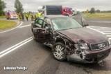 Policyjny dron zarejestrował wypadek na skrzyżowaniu w powiecie krośnieńskim. Wszystko wyglądało bardzo groźnie