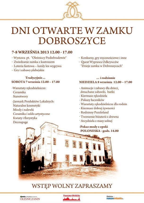 Dni otwarte zamku Dobroszyce - plakat