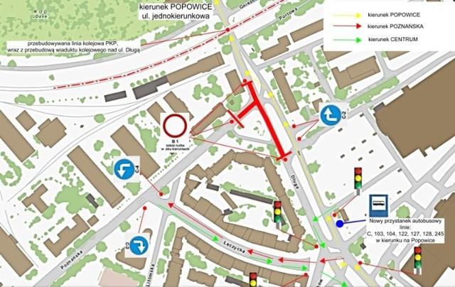Jak pojadą kierowcy? Wykonawca przygotował objazd przez ulicę Łęczycką i to właśnie nią dojedziemy do ulicy Poznańskiej od strony ul. Długiej, a także w przeciwną stronę z Poznańskiej na Długą.