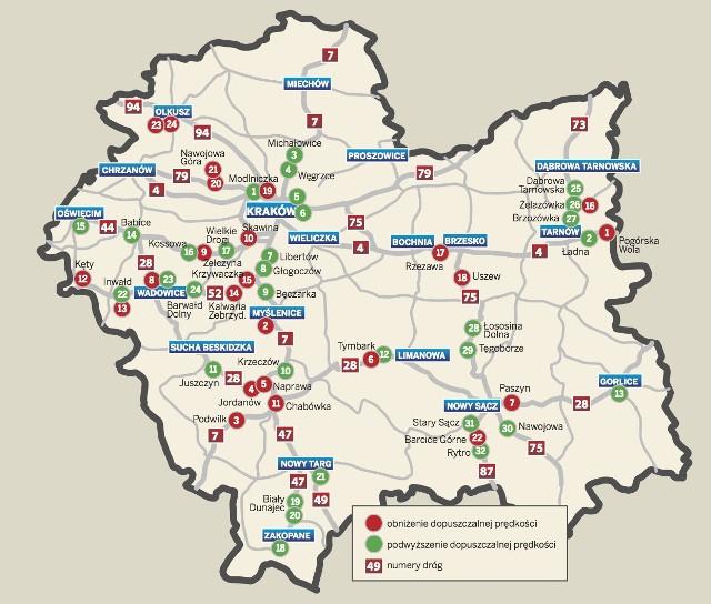 Uwaga Zmiany Predkosci Na Malopolskich Drogach Mapa Krakow