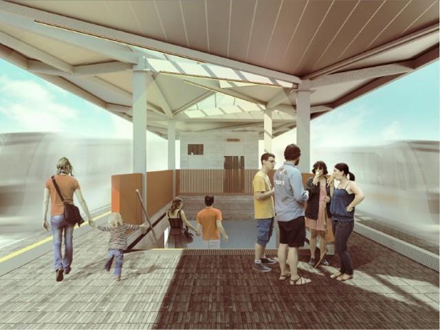 Wizualizacje nowego peronu Gdynia Chylonia.