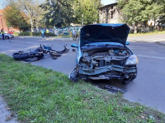 Wypadek motocyklisty na ulicy Kościuszki w Zawierciu