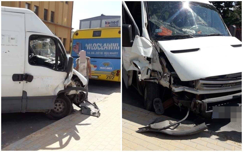939e57c77f744f Wypadek na ulicy Łęgskiej we Włocławku. Dostawcze iveco uderzyło w autobus  MPK [zdjęcia]