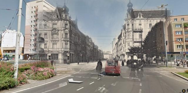 Plac Żołnierza, w kierunku Placu Rodła, czyli dawne skrzyżowanie Konigsplatz z Moltkestrasse (to nazwa części aktualnej alei Wyzwolenia).