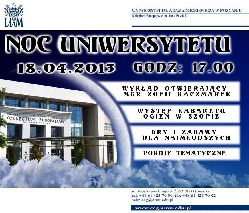 Zaproszenie Na Noc Uniwersytetu W Gnieźnie Program Imprezy W