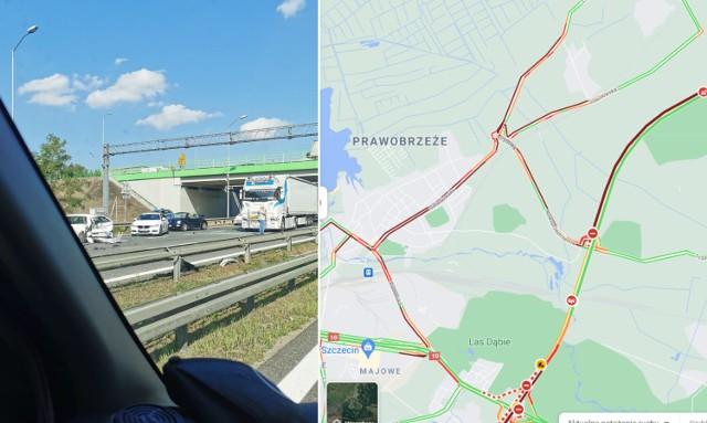 Wypadek i korek na A6 08.09.2021