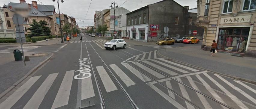 Skrzyżowanie kontrapasa z Cieszkowskiego.