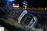 Nocny wypadek w Kobylinie. Jedna osoba trafiła do szpitala [ZDJĘCIA]