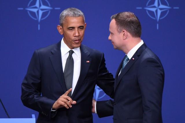 Barack Obama podczas wspólnej konferencji prasowej z Andrzejem Dudą