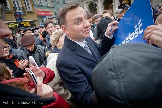 Andrzej Duda, kandydat PiS na prezydenta Polski spotkał się z wyborcami w Wałbrzychu