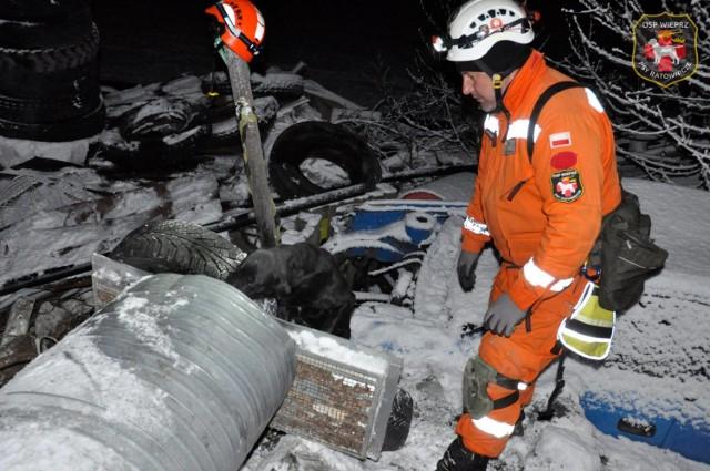 Trening poszukiwawczy z psami ratowniczymi na realnym gruzowisku zawalonego budynku w warunkach nocnych