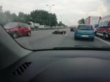 Katowice: Wypadek na S86. Motocykl zderzył się z osobówką. Ruch zablokowany [ZDJĘCIA]