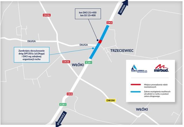Będą spore utrudnienia w nocy z 10 na 11 maja 2021 roku na trasie Świecie - Bydgoszcz