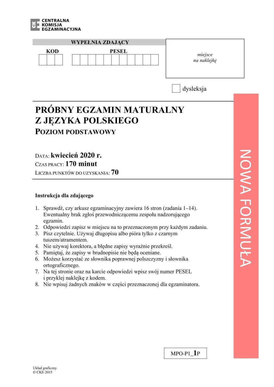 język polski matura próbna 2021
