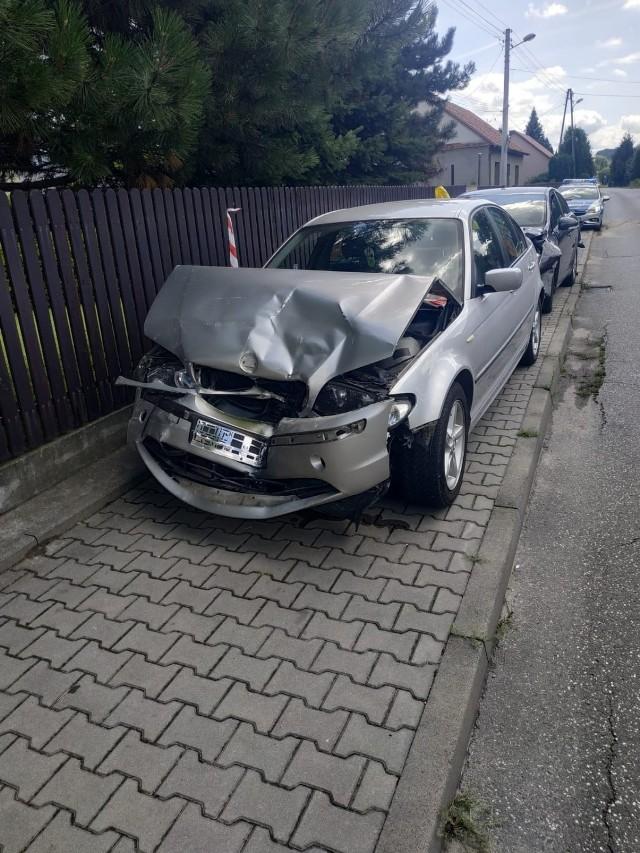 Skutki wypadku na ulicy Wygoda w Bochni, 9.08.2021