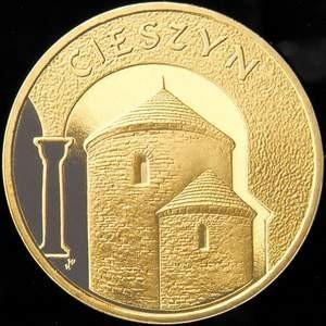 Na rewersie cieszyńskiej monety znalazła się słynna Rotunda św. Mikołaja.