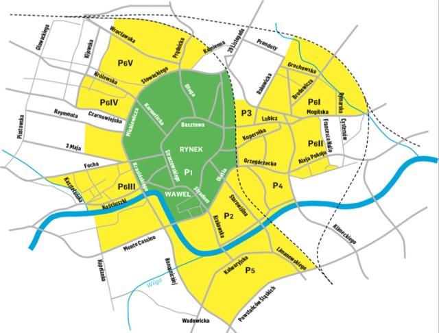 Pierwotny zasięg strefy (na zielono) i według projektu uchwały, którą dziś przegłosuje rada (na żółto).