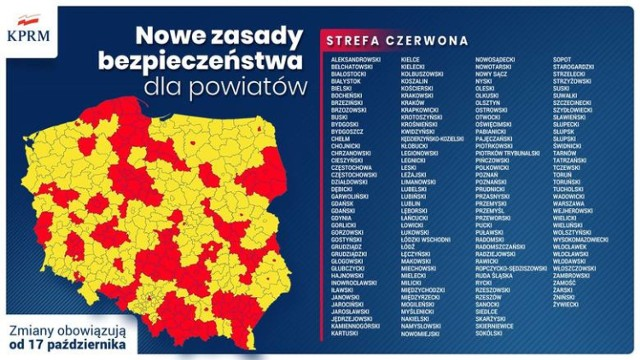 152 powiaty i miasta z całej Polski będą od 17 października w czerwonej strefie - ogłosił minister zdrowia Adam Niedzielski.