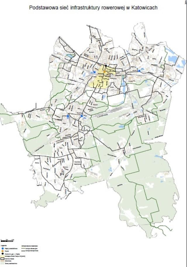 Planowana sieć dróg rowerowych w Katowicach