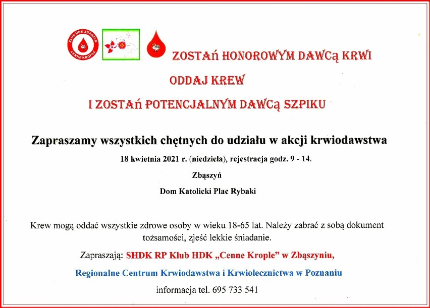 Zbąszyń: Akcja krwiodawstwa już wkrótce. Pomóżmy chorym wrócić do zdrowia! Kiedy i gdzie?