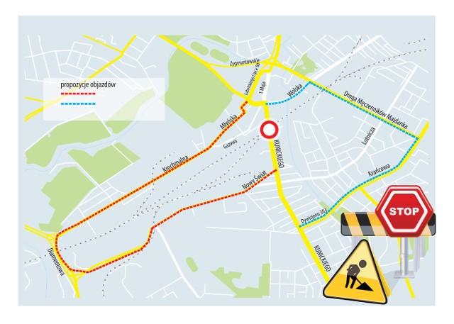 Remont Kunickiego: Mapa objazdów