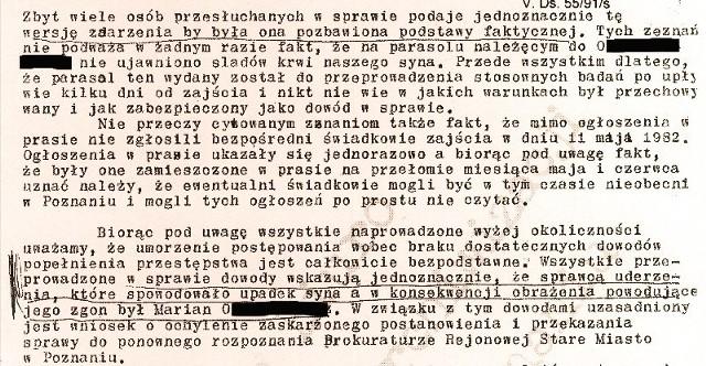Fragment pisma rodziców Piotra do prokuratury z 28 lutego 1983 roku wskazującego na winę Mariana O., człowieka z parasolem