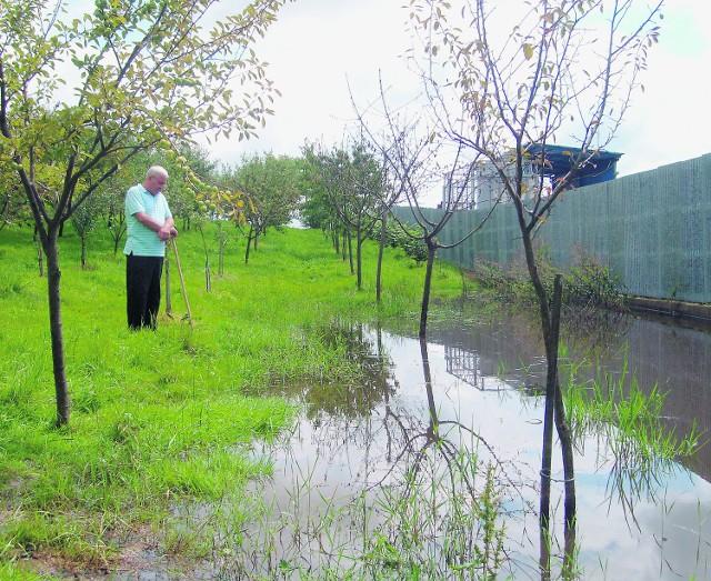 Woda w sadzie zbiera się już od listopada zeszłego roku. Ziemia tak nasiąkła, że zaczęły gnić drzewa owocowe