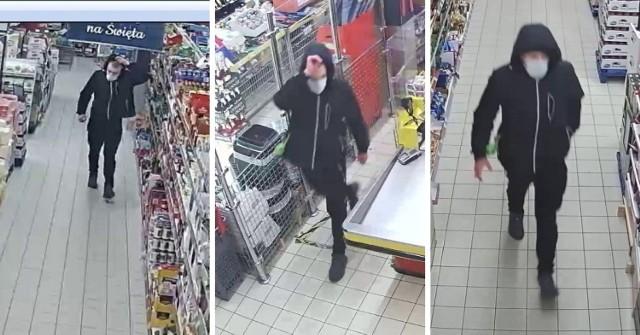 Mężczyzna, który okradł sklep w Lubiczu Górnym w listopadzie 2020 roku.