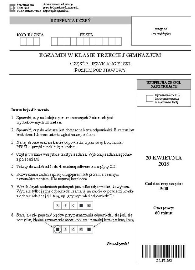 Egzamin gimnazjalny 2016: ANGIELSKI poziom podstawowy [ARKUSZE CKE, zadania]