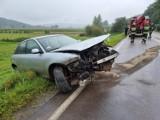 Audi A3 wypadło z drogi na zakręcie. Pogotowie zabrało kierowcę do szpitala [ZDJĘCIA]