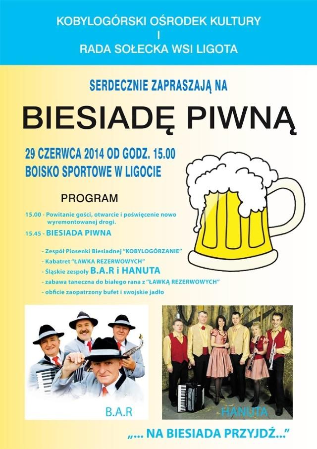 Plakat ilustrujący zaproszenie na Biesiadę Piwną w Ligocie