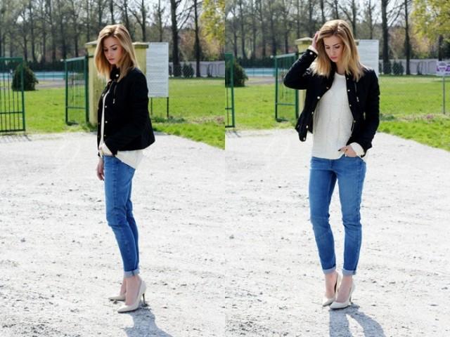 Połączenie jeansów ze szpilkami