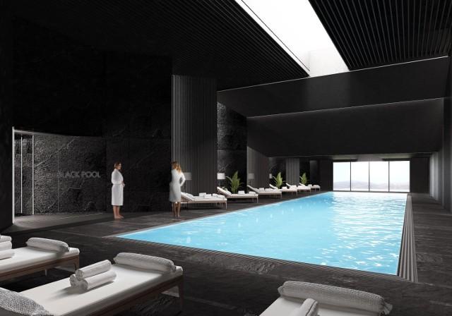 Wizualizacje hotelu Crystal Mountain w Wiśle.  Black Pool, czyli czarny basen, część aquaparku  Zobacz kolejne zdjęcia. Przesuwaj zdjęcia w prawo - naciśnij strzałkę lub przycisk NASTĘPNE