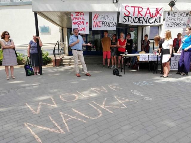 Studenci protestujący w Gdańsku.