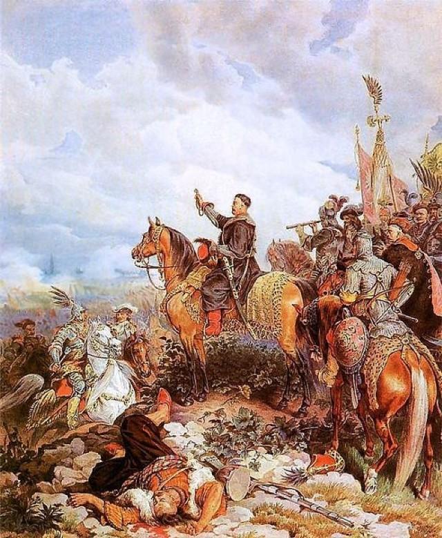 Sobieski błogosławi atak wojsk polskich pod Wiedniem, akwarela Juliusza Kossaka