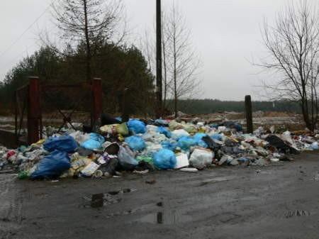 Wysypisko w gminie Studzienice  jest zamknięte, ale pod bramę zawsze leżą sterty śmieci. Fot. Marcin Pacyno