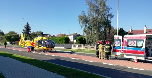 Wypadek na ul. Popiełuszki w Wieluniu. 11-latka zabrana śmigłowcem do szpitala
