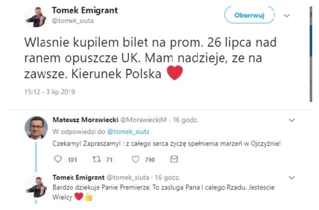 O tym, jak jeden wpis na Twitterze może zapoczątkować falę hejtu przekonał się jeden z użytkowników tego serwisu- Tomek Emigrant. Mężczyzna w środę opublikował post mówiący o jego rychłym powrocie do Polski z zagranicy, do czego przyczynił się obecny rząd. Na odpowiedź internautów nie trzeba było długo czekać.