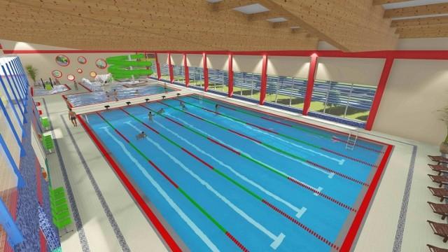 Tak kryty basen w Kostrzynie miał wyglądać pierwotnie. Po zmianach kubatura budynku będzie mniejsza.