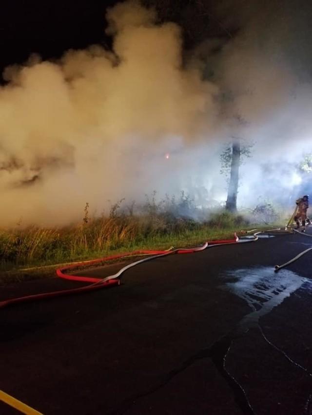 Pożar stogu w Gminie Świedziebnia